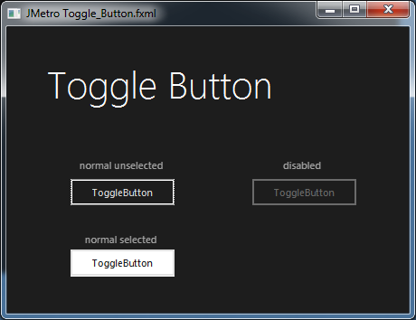 Toggle Button dark metro style