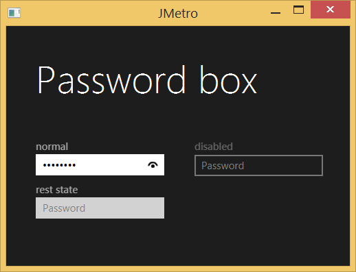 Password Box - Dark theme